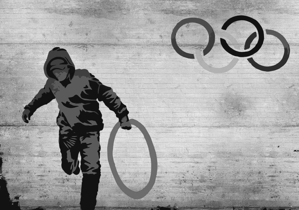 Fototapete-Banksy-Graffiti-Olympia-Wand-Vliestapet