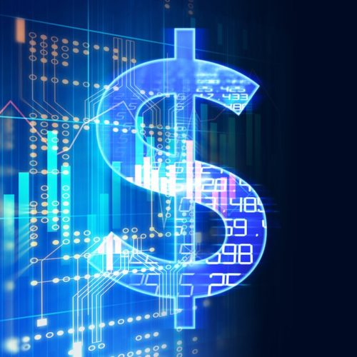dollar sign on abstract financial technology background .