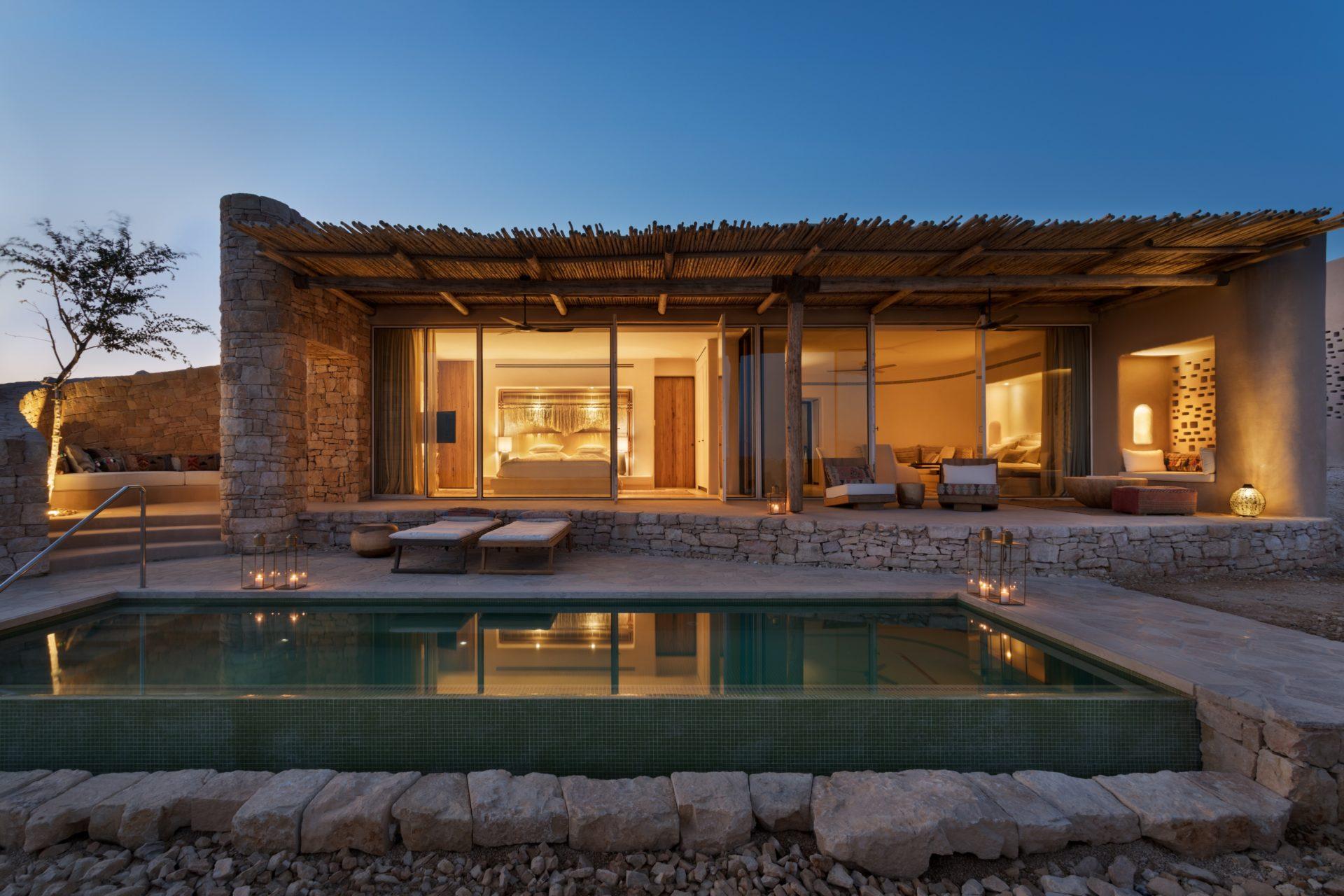 Six Senses Shaharut – Panorama Pool Villa – sunset – photo credit Assaf Pinchuk