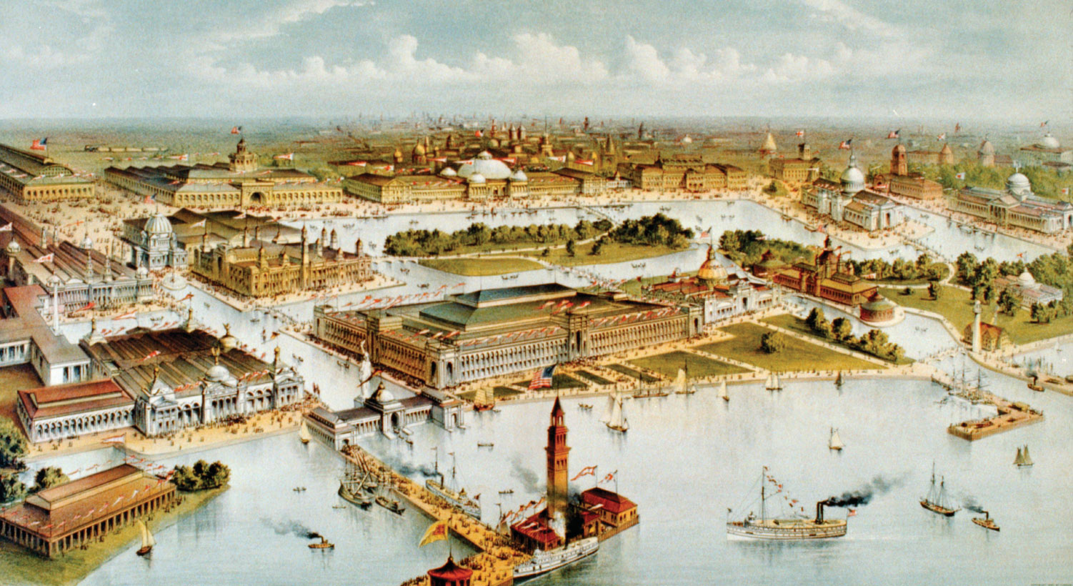 view-grounds-buildings-lakefront-Worlds-Columbian-Exposition-1892